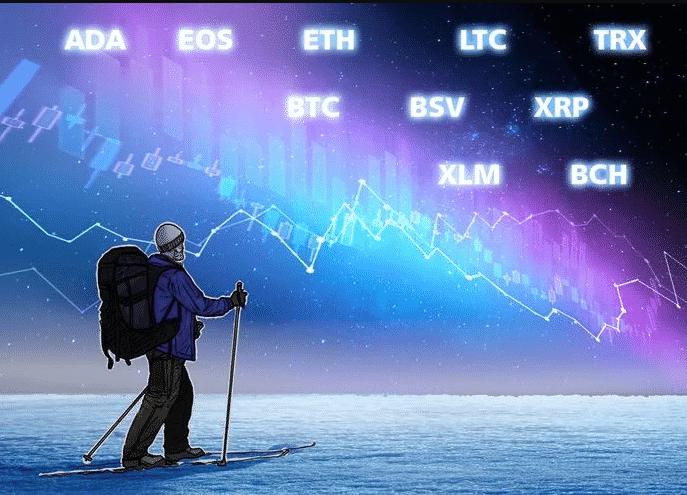 Bitcoin, Ethereum, Ripple, Bitcoin Cash, EOS, Stellar, Litecoin, Bitcoin SV, TRON, Cardano